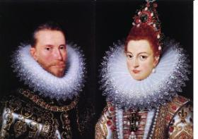 Archduke Albert of Austria and his wife Isabella—Philip proposed Albert, his nephew, as Ireland's new king in 1588, a claim strengthened by his marriage to Isabella, the Spanish infanta, whom Philip had put forth as the rightful queen of England owing to her descent from Edward III. (Groeninge Museum, Bruges)