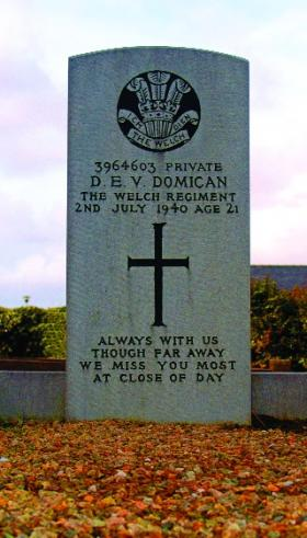 Grave of Private Donald Domican in the Church of Ireland cemetery, Belmullet. Two chevrons were found among his meagre belongings. He had recently been promoted to lance-corporal but died before sowing the insignia on to his uniform sleeves. (M. Kennedy)