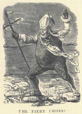 Mid-nineteenth-century cartoon of an all-conquering Archbishop Paul Cullen. (Multitext)