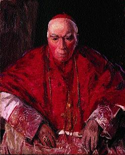 Cardinal Logue, who said the government could not be faulted for punishing (i.e. executing) the 1916 leaders, provided it did so 'within the laws of humanity'. (Estate of Sir John Lavery)