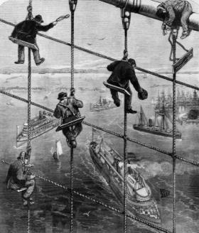 Workers lashing the stays of Brooklyn Bridge—not the city's only claim to fame in the 1880s. (Frank Leslies's Illustrated Newspaper, 28 April 1883)