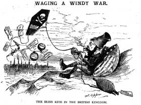 'Waging a windy war. The Irish kite [Irish independence] in the British kingdom.' Attached is a pistol, a bomb, dynamite, 'incendiary speech', 'down with England', 'murder the tyrants', 'arson' and 'assassination'. (Puck)
