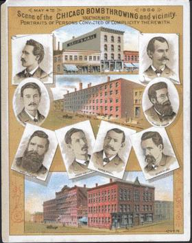 The eight anarchists tried for murder (on flimsy evidence, it was alleged) for the 'Haymarket massacre' in Chicago on 4 May 1886. The incident created a hostile climate for dynamiters across the United States, whatever their political colours.