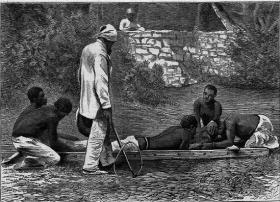 A slave being punished in Spanish Cuba c. 1868. Before the American Civil War, Southern slave-holding interests supported Cuban nationalists, hoping to annex Cuba to the US as a slave state. Slavery was not formally abolished there until 1880.