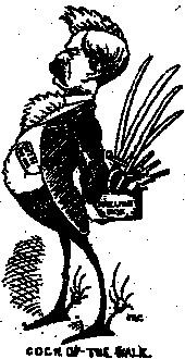 Caricature of J. J. O'Kelly as a fighting cock from Dublin's Warder and Weekly Evening Mail, 9 June 1883. (National Library of Ireland)