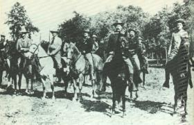 The wealthy American explorer and adventurer William Astor Chanler (clean-shaven, on horse at far right) leading a group of American irregulars on their way to fight in Cuba. Chanler's brother Lewis was active in Parnellite politics and a significant backer of the Irish Daily Independent.