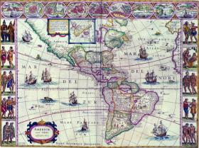 Map of North and South America produced by Jean Blaeu in Amsterdam in 1663, showing both Brazil the country and 'Brasil' the island (the blue dot in the North Atlantic). (British Library)