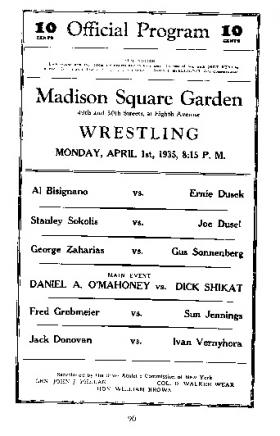 Danno tops the bill at New York's Madison Square Garden in April 1935.