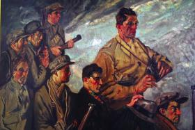 This version of Men of the South—almost identical to the original that had languished unfinished in Seán Keating's Rathfarnham studio until acquired by the Douglas Hyde Collection in 1944—was purchased from the artist by Albert Woods KC and given as a gift to the author's grandmother, Nora Moylan, who hung it on her sitting-room wall. The work depicts a group of ordinary men in pursuit of an ideal: (front, left to right) Michael Sullivan, John Jones, Roger Kiely, Dan Brown; (back, left to right) Jim O'Riordan, Denis O'Mullane, Jim Cashman and (with binoculars) Seán Moylan. (Moylan family)
