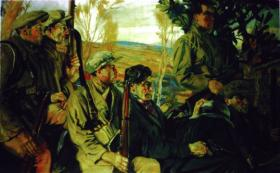 Seán Moylan didn't want to be included in the second, better-known, version of the picture. Fearing that the July 1921 truce might not hold, he thought it unwise to provide the British with a picture of himself. Keating painted the figures one by one and later observed critically that the new picture was not as coherent as the first because of the resulting piecemeal approach. (Crawford Municipal Art Gallery)