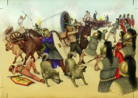 Reconstruction of the battle of Vercellae, 101 BC, where Roman troops faced the Celto-Germanic Cimbri—and their dogs, according to ancient accounts. (Katriona Chapman)