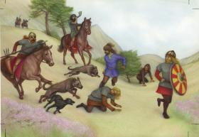 Reconstruction of the battle of Dunnichen Moss, AD 685, where the Picts defeated invading Northumbrian Anglians. Dogs may have been used by the Picts to hunt down Anglian fugitives. (Katriona Chapman)