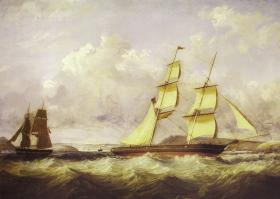 Sailing Brigs [two-masted vessels similar to the Mary Russell] off the Cork Harbour 1851 by George Mounsey Wheatley Atkinson. (Private collection, Cork)