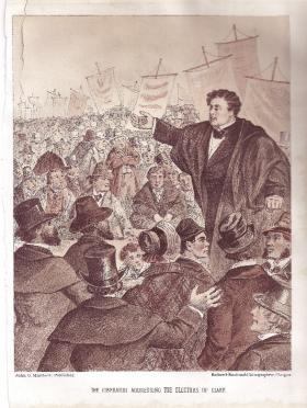 'The Liberator addressing the electors of Clare.' The Mary Russell massacre pushed the Clare election of 1828 off the front pages of Cork's newspapers. O'Connell was engaged for the prosecution, but did not attend for the one day the trial lasted. (Maclure & Macdonald Lithographers, Glasgow)