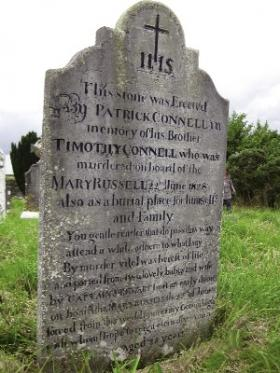 Gravestone of Timothy Connell at Cill Muire cemetery, Passage West. (Helena Kelleher Kahn)