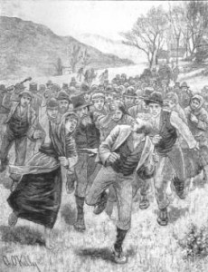 'Agitation: Attack on a Process Server' by Aloysious O'Kelly. O'Shea became an inveterate prison visitor in 1882 when the impact of British coercion legislation led to a number of suspected agrarian agitators being rounded up and jailed without trial. (Illustrated London News, 21 May 1881)