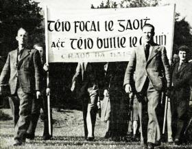 Gearóid Ó Cuinneagáin (left) leading a Craobh na hAiséirghe parade. While ostensibly a branch of Conradh na Gaeilge, Ó Cuinneagáin intended Craobh na hAiséirghe to be 'a Hitler Youth Movement'. (Military Archives)
