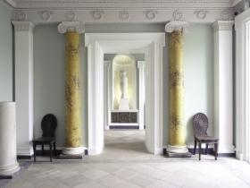 The remodelled hall—paired Ionic columns in a rich yellow scagliola (a simulated marble produced from marble chips) give a strong architectural character to the space. (NIAH)