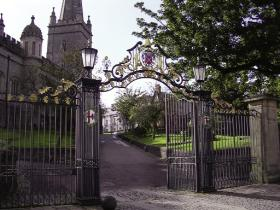 The Processional Gates of St Columb's Cathedral—through its continuing ownership of the city walls and its contribution towards the building of St Columb's, the Guildhall and numerous lesser public buildings, the Irish Society has remained closely involved in the development of Londonderry. (The Honourable the Irish Society)