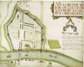 'A Plat of the towne of Coleraine as it now stands bvilt and fortified'. Sir Josias Bodley had designed the fortifications but plots remained empty for many years. (Worshipful Company of Drapers of the City of London)