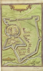 Richard Bartlett's 1601 map of the fort at Mountnorris, between Armagh and Newry (see reviews, p. 78). While we are not certain of its precise location, the likelihood is that the school was within its protecting walls. (National Library of Ireland)