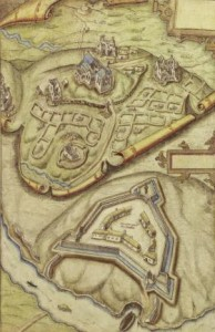 Richard Bartlett's map of Armagh c. 1600. In 1610 the Royal School moved from Mountnorris to the site of the ruined former Columban abbey (top right-hand corner), where it remained for over a century. (National Library of Ireland)