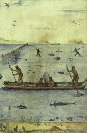 'The manner of their fishing', by John White. (British Museum)
