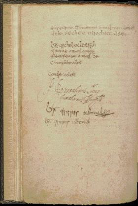 Thuas: Leathanach sínithe Annála na gCeithre Máistrí [the signature page of the Annals of the Four Masters]. (UCD-OFM Partnership)