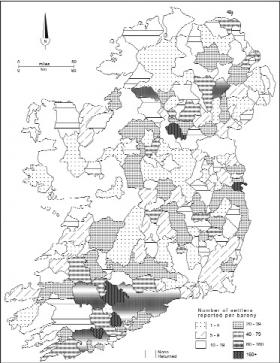 Geographical distribution of settlers by barony, as reported in the 1641 Depositions. (W. J. Smyth, Map-making, landscape and memory: a geography of colonial and early modern Ireland c. 1530–1750, Cork University Press, 2006)