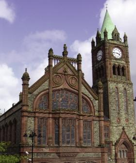 Derry/Londonderry's neo-Gothic Guildhall was completed in 1912 to replace an earlier city hall destroyed by fire in 1908. (The Honourable the Irish Society)