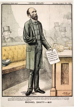 Parnellite cartoon contrasting anti-Parnellite Meath MP Michael Davitt's oath of fidelity to the queen in 1892 (in his hand, and note the Fenian oath trodden underfoot) with his 1885 'letter to the radical electors of Sheffield' (text at bottom) condemning the same oath. (Supplement to United Ireland, 13 August 1892)