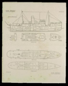 The Helga was originally designed as a marine research ship and included a laboratory, as indicated on this ship's drawing. (National Museum of Ireland)