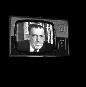 Taoiseach Seán Lemass speaking to the nation on the opening night of Telefís Éireann, New Year's Eve 1961. At the first meeting of the new Television Authority in June 1960 his government placed them on notice that the financial stability of the new service was paramount and that any serious difficulty in this regard would place the independence of Telefís Éireann in jeopardy. (RTÉ Stills Library)