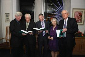 Seamus Heaney (second from left) launching the DIB in the Ulster Bank headquarters, Belfast, on 16 December 2009, with (left to right) Nicholas Canny (president of the RIA), James Quinn (executive editor), Linde Lunney (editorial secretary) and James McGuire (managing editor). (RIA)