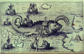 St Brendan and his crew on a whale—from Nova typis transacta navigatio: Novi Orbis India Occidentalis, originally published in 1621 by Honorius Philoponus. The arrival of Irish monks such as St Brendan in Iceland in the eighth century has become accepted in popular history but it remains a subject of some doubt in academic circles. (British Library)