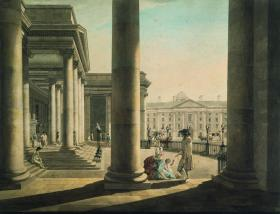 Trinity College, Dublin, seen through the Portico of the Parliament House, 1790 by James Malton. After the partial repeal of Poynings' Law in 1782, the House of Lords became a much more important body than it had been. (National Gallery of Ireland)