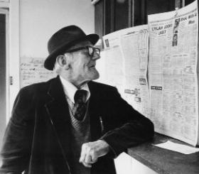'Cuddy' Chanders checks the form in a betting office in Duke Street, Athy, in 1974; he was so called after Jack MacCuddy, a character in his party piece, a recitation called 'Happy School Days'—or alternatively for his 'canny' play for Kildare in the 1935 All-Ireland football final. (John Minihan)