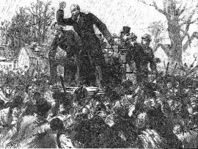 Parnell making a speech in the course of the North Kilkenny by-election of December 1890, the first of three he was to lose. Relieved of the strains surrounding his fall from grace, his untimely death nine months later might have been delayed. (Illustrated London News, 27 December 1890)