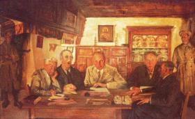 The informality of Seán Keating's Republican Court 1921 is in marked contrast to the pomp and circumstance of the British system retained by the 1924 Courts of Justice Act. (Crawford Municipal Art Gallery)