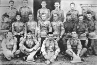 Members of the 1st battalion of the Connaught Rangers in India. James Daly is bottom right. (King House Museum, Boyle)