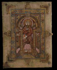 An illuminated page from the Book of Kells. The notitiae that record Tigernán's munificence no longer survive in the original manuscript in Trinity College, Dublin. (Trinity College, Dublin)