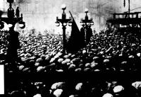 'Red Clydeside'—workers' demonstration (with red flag) in George Square, Glasgow, in 1919. The 'Red Clydeside' Labour MPs elected in 1922 supported MacDonald in the first ever contest to elect a Labour leader, but by the time the first Labour government fell after only nine months in office they, and other left-wingers, had become disillusioned with his cautious political and economic policies. (Scottish Media Newspapers)