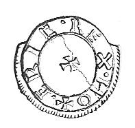 A coin ascribed to Eric 'Bloodaxe', king of Northumbria (947–9, 952–9)—the only Viking artefact found in Cork before the end of the twentieth century.