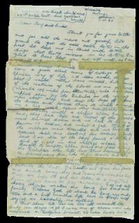 Gaynor's letter of 1 November 1960 from Niemba detailing Baluba atrocities. Within a week he and eight other Irish soldiers would be dead. (National Museum of Ireland)