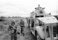 Irish UN troops from the 38th Infantry Battalion with two Ford Mk VI armoured cars, securing positions around the perimeter of Elisabethville, on the road from Kipushi, 3 January 1963. One is currently on permanent display