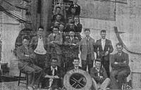 The 1931 Kerry football team en route to America. Fergus Whitty's father, Patrick, is seated behind the lifebuoy. (Kerry's Football Story)