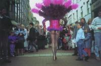 How he appeared on Grafton Street, Dublin, in 1991, promoting The Rocky Horror Picture Show, wearing a G-string, fishnet stockings and a flowing feather boa, which led to his prosecution for indecency and a probationary sentence. (Diceman Living Visuals)