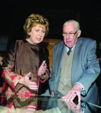 President Mary McAleese and Revd Ian Paisley at the launch of the 'Ireland in Turmoil' exhibition centred on the Depositions, in the Long Room, Trinity College, on 22 October 2010. (Paul Sharpe)