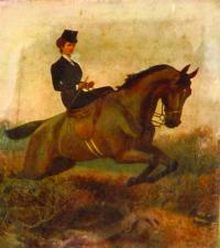 Portrait of Elizabeth riding side-saddle on the horse 'Merry Andrew', which still hangs in the Royal Dublin Society. (Gerard Whelan, RDS)