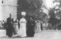 Queen Alexandra at St Patrick's College, Maynooth. To express his disdain for the bishops' entertaining of the royal couple, George Moore, in a scornful letter to the Irish Times, declared himself a Protestant. (MultiText)